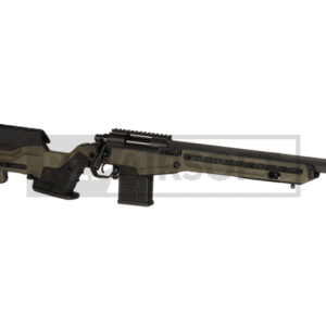 Action Army Muzzle Velocity (0.20g): approx. 295 fps (0.80 Joule) The mentioned value has been measured by ourselves and will be frequently remeasured. Variations of +/- 10% or more are possible. Hop-Up: Adjustable Shooting Mode: Single shot (reload after every shot) Magazine capacity: 50 rds Length: 1075 mm Inner barrel length: 430 mm Thread: 14mm CW Caliber: 6mm ABS body Top-rail to mounts scopes and accessories Power: 300 FPS VSR-10 compatible Adjustable cheek rest Adjustable trigger pull Adjustable hop-up 90° trigger Dummy mag to store your mag
